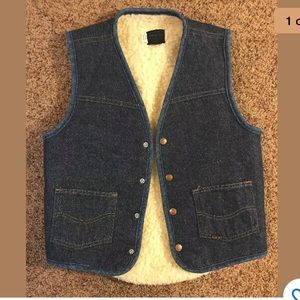 Jackets & Blazers - Vintage Denim Fleece Sears SHERPA LINED VEST Sm